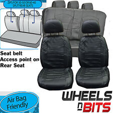 Fiat Stilo Panda UNIVERSAL BLACK White stitch Leather Look Car Seat Covers set