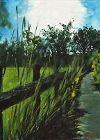 Original acrylic landscape painting by Geoff Dawson Old Black Fence