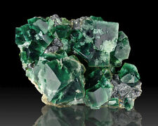 "4.6"" Cubic Penetrating Twin Green Blue FLUORITE Crystals Rogerley UK for sale"