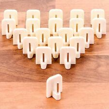 20 x WHITE SELF ADHESIVE CURTAIN ROD END Sticky uPVC Window Net Wire Hook Holder