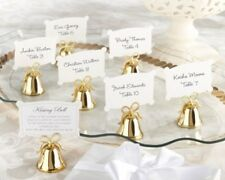 144 GOLD Kissing Bells Heart Wedding Favor Placecard Holders
