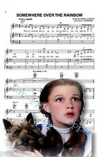 Judy Garland Dorothy Toto Somewhere Over the Rainbow Fabric Block Sheet Music
