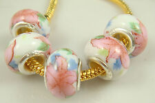 5pcs Silver MURANO Lampwork Beads Fit Charm DIY Bracelet Necklace Chain n3y