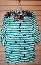 NEW WOMENS PLUS SIZE 3X GREEN STRIPED ANCHOR CROCHET YOKE HI LOW HENLEY SHIRT
