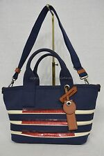NWT! Marc By Marc Jacobs M0007856 Small Stripes Tote in New Prussian Blue & Ecru