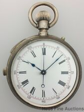Working Solid Silver Quarter Hour Repeater Chronograph Antique Pocket Watch