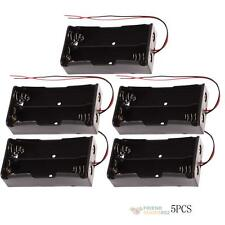 5Pcs Plastic Battery Storage Case Holder for 2x 18650 with Wire Leads Du #F8s