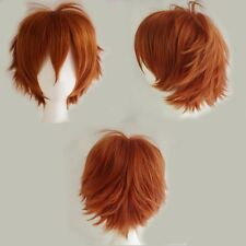 Fashion Short Hair Anime Wigs Brown Blue Purple Red Pink White Black Full Wig b7