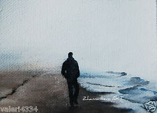 Original ACEO miniature ABSTRACT seascape walking man OIL painting landscape