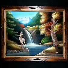 Original Vtg Antique Deer Landscape Oil Painting on Black Felt Canvas Wood Frame