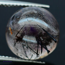 10.19 CT NATURAL! COLORLESS WITH RUTILE QUARTZ ROUND CABOCHON AFRICA