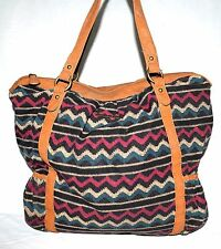 ONeil Rose Black Beige & Teal Wavy Striped Cotton w/ Faux Leather Trim Tote Bag