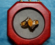 14K Solid Gold Citrine  Ring With Bagettes size 7