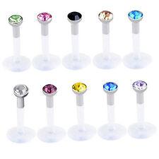 10x Acrylic Clear Jewelry Rhinestone Lip Bar Ear Spicule Ring Piercing Labrets