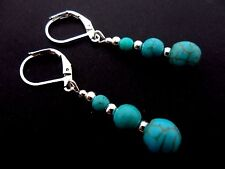 A PAIR OF TURQUOISE BLUE  SILVER PLATED LEVERBACK HOOK  EARRINGS. NEW.