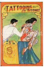 TATTOOING BY STONEY, Vintage Freak Show Poster Rolled CANVAS ART PRINT 24x33 in.