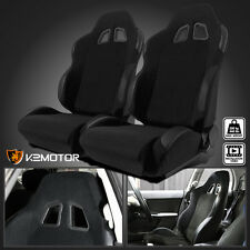 2X JDM Black Cloth PVC Leather Sport Racing Seats PAIR
