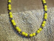 Handmade YELLOW & SILVER 17 inch Beaded NECKLACE CHOKER C-11 by Quality Jewelry