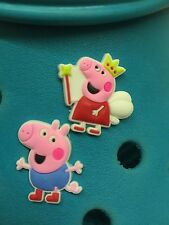 Peppa Pig & George Shoe Charms For Crocs & Jibbitz Wristbands. Free UK P&P.