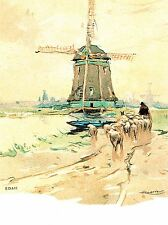 PAINTING POSTCARD EDAM NETHERLANDS HENRI CASSIERS WINDMILL POSTER PRINT LV2836