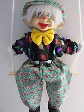 MARIONETTE CLOWN STRING PUPPET DOLL CLOWN ON A SWING PORCELAIN HEAD NEW