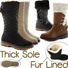 D9Y WOMENS LADIES FUR LINED WINTER QUILTED FLAT KNEE HIGH SNOW BOOTS SHOES SIZE