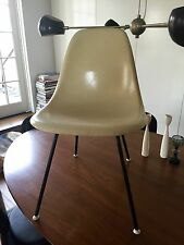 Vtg Eames Herman Miller Parchment Shell Side Chair w/ Blk Metal 'H' Base