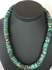 Native American Turquoise Large 11 mm Heishi Bead  Necklace 18""