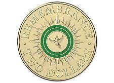 2014 Australia Green Ring Remembrance Dove & Olive Branch $2 Coin ' Rare '