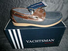 Mens Deck Boat Shoes Leather Nubuck Navy/ Brown   by Yachtsman  New Sizes 8-12