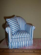 BEAUTIFUL STRIPED UPHOLSTERED CHAIR -  DOLL HOUSE  MINIATURE