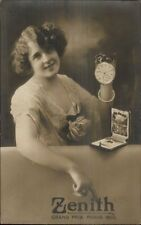 Beautiful Woman Adv Zenith Pocket Watches Grand Prix Paris 1900 RPPC dcn