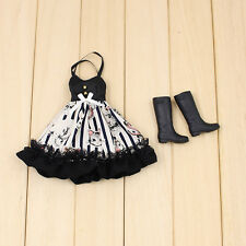 "Takara 12"" Blythe Azone Doll Outfits long black dress + black boots new sale HOT"