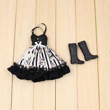 "Takara 12"" Blythe Azone Doll Outfits long black dress + black boots new sale HOT"