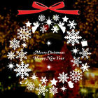 Christmas Decor White Snowflakes Ring Stickers Wall Window Door Removable Decal