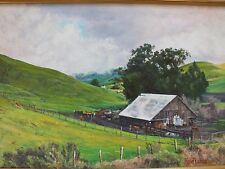 HENRY RICHARDS (b.1923) listed California Hwy 46 old barn Cambria painting