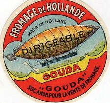ORIGINAL VINTAGE  DUTCH CHEESE LABEL - AIRSHIP