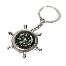 Survival Wheel Ruder Compass Keychain Outdoor Camping Hiking Key Ring Keyring