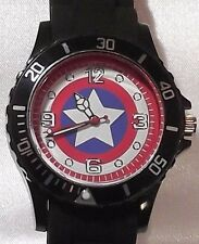 Marvel Comics CAPTAIN AMERICA Logo Black Silicone Band WRIST WATCH