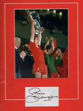 Signed Phil Thompson Liverpool Mounted Card + Photo Anfield England