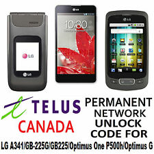 LG UNLOCK CODE FOR  TELUS LG A341 OR GB-225G OR OPTIMUS ONE P500H/OPTIMUS G
