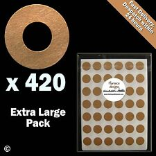 420 x Manilla/Buff/Kraft hang tag ring/round/hole reinforcement stickers/labels