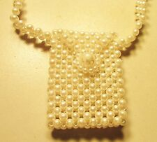 "Vintage 60's Long 24"" Purse Plastic Pearl Bead Necklace White"