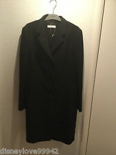 PRADA Size 48 US 14 Classic Black Long Tailored Wool Coat Authentic