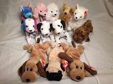 MWMT Beanie Babies lot#6 12 dogs: Hodge-Podge L'amore Pugsly Schnitzel Seadog...
