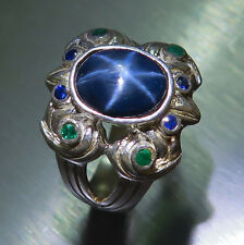 3.10ct Natural Blue ray star Sapphire & emeralds 925 sterling silver unisex ring