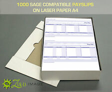 1000 SAGE COMPATIBLE PAYSLIPS ON LASER PAPER A4 210x297mm 2up 068025/SGE010/SE95
