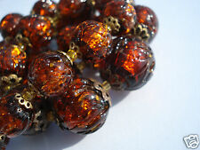 SUPERBE COLLIER ANCIEN EN PERLES MURANO/MARRON ORANGE