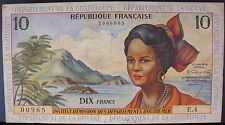 French Antilles ND(1964)10 New Francs P8a Guyana Pinhole(s)**FREE U.S SHIPPING**