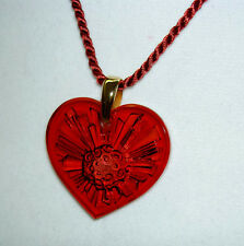 Authentic LALIQUE Ruby Red Sol Sun Heart Crystal Pendant Necklace France NIB
